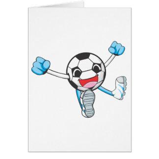 Joyful Soccer Player Jumping Greeting Card