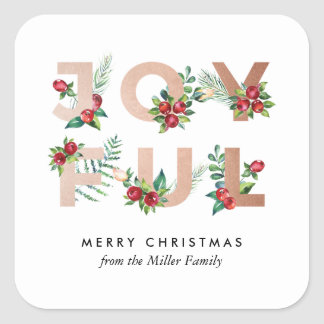 JOYFUL Watercolor Botanical Holiday Sticker