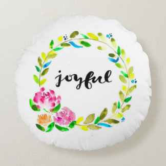 Joyful Watercolor Floral Wreath Pillow
