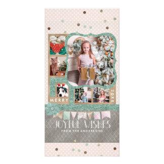 Joyful Wishes Christmas 6 Custom Photo Collage Card
