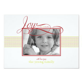"Joyful Wishes Christmas/ Holiday Photo Card 5"" X 7"" Invitation Card"