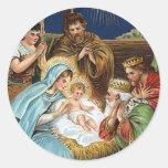 """Joyful Yuletide"" Vintage Christmas Round Sticker"