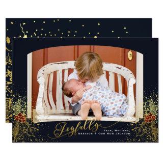 Joyfully Confetti Navy Frame Photo Card