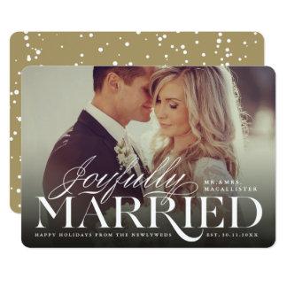 Joyfully Married Wedding 1st Christmas Photo Card
