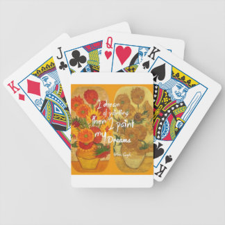 Joyous and sad  sunflowers bicycle playing cards