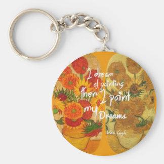 Joyous and sad  sunflowers key ring