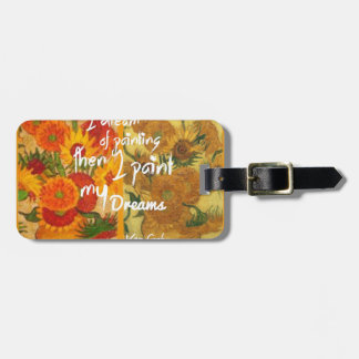 Joyous and sad  sunflowers luggage tag