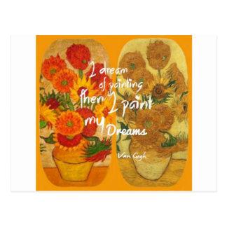 Joyous and sad  sunflowers postcard