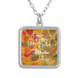 Joyous and sad  sunflowers silver plated necklace