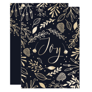 Joyous Branches Blue Holiday Greeting Card