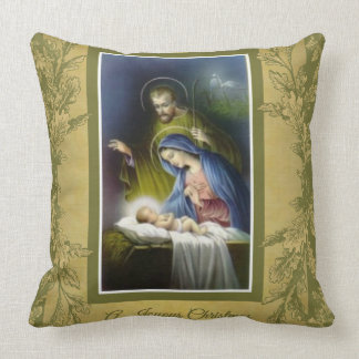 Joyous Christmas Virgin Mary, Joseph, Jesus Manger Cushion