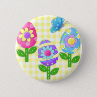 Joyous Easter Egg Flowers Round Button