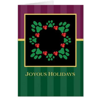 Joyous Holidays Paw Print Wreath Greeting Card