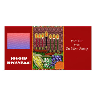 joyous kwanzaa personalized photo card