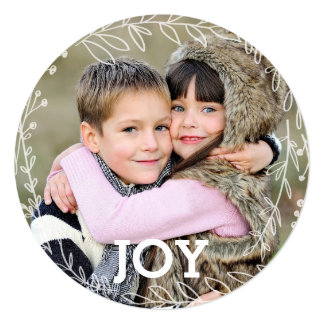 Joyous Laurel Wreath Holiday Photo Card 13 Cm X 13 Cm Square Invitation Card