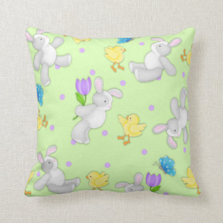 Joyous Pastel Bunny and Chick Nursery Pillow
