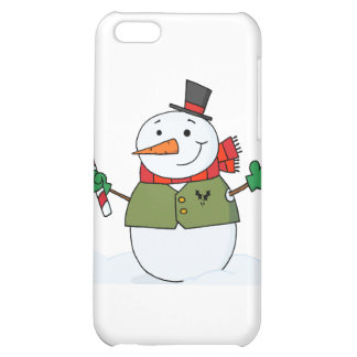 Joyous Snowman Holding A Candy Cane iPhone 5C Covers