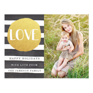 Joyous Stripes Holiday Photo Postcard / LOVE