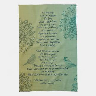 Joy's Birth Poem Tea Towel