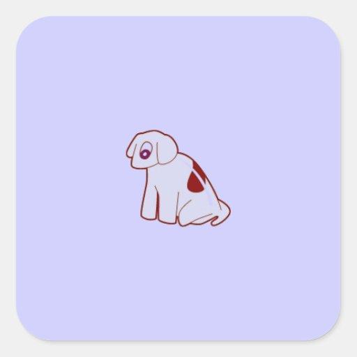 jpg_dog501 MINIMAL CARTOON PUPPY DOG PASTEL BLUE P Sticker