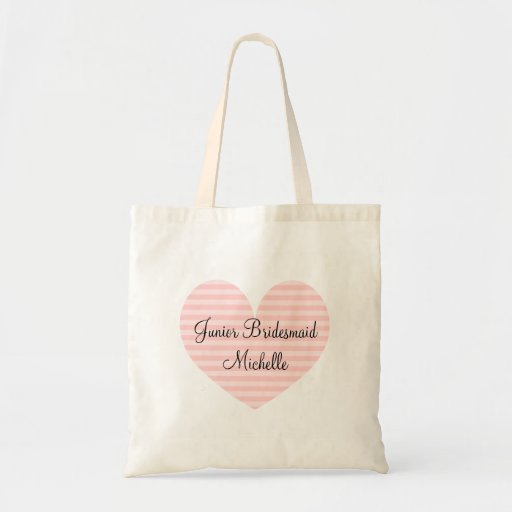 Jr Bridesmaid pink striped heart design tote bag