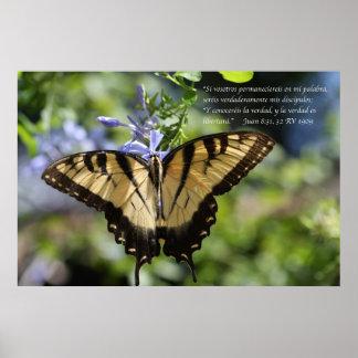 Juan 8 con mariposa Tiger Swallowtail Poster