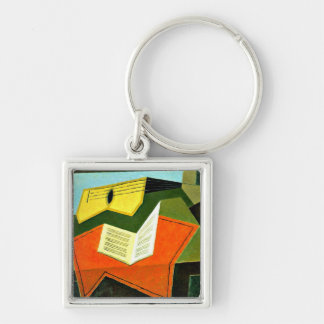 Juan Gris art: Guitar and Music Paper painting Silver-Colored Square Key Ring