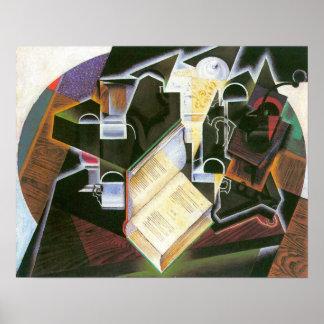 Juan Gris - Book, pipe and glasses Print