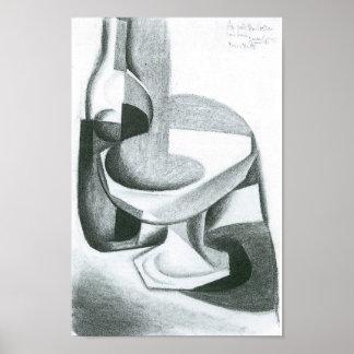 Juan Gris - Bottle and fruit bowl Posters