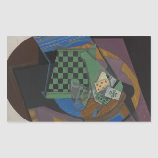 Juan Gris - Checkerboard and Playing Cards Rectangular Sticker