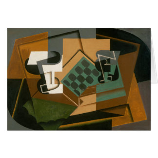 Juan Gris - Chessboard, Glass, and Dish Card