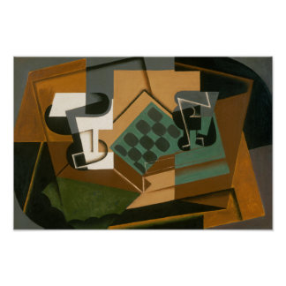 Juan Gris - Chessboard, Glass, and Dish Poster