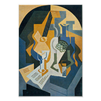 Juan Gris Still Life with Fruit Dish and Mandolin Poster