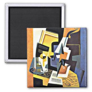 Juan Gris: Violin and Glass Square Magnet