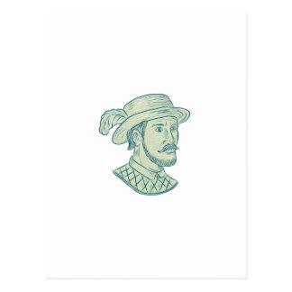 Juan Ponce de Leon Explorer Drawing Postcard