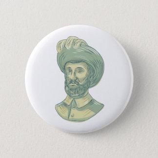 Juan Sebastian Elcano Bust Drawing 6 Cm Round Badge