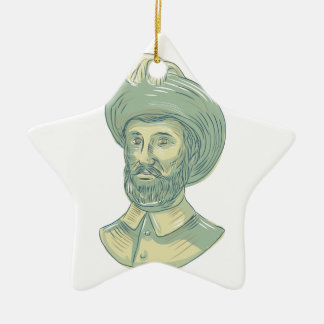 Juan Sebastian Elcano Bust Drawing Ceramic Ornament