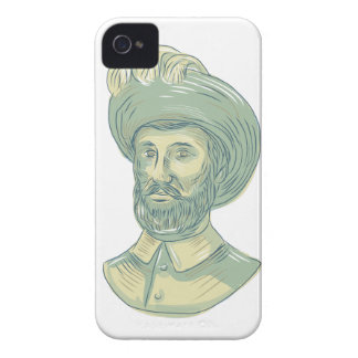 Juan Sebastian Elcano Bust Drawing iPhone 4 Case-Mate Case