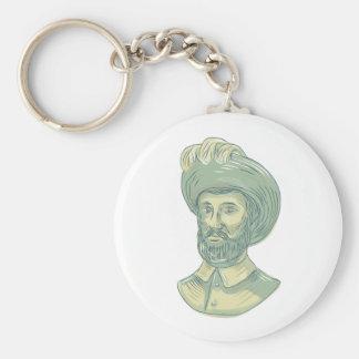 Juan Sebastian Elcano Bust Drawing Key Ring