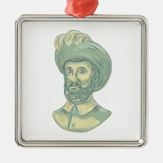 Juan Sebastian Elcano Bust Drawing Metal Ornament