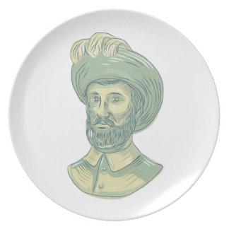 Juan Sebastian Elcano Bust Drawing Plate