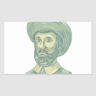 Juan Sebastian Elcano Bust Drawing Rectangular Sticker