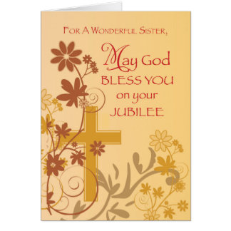 Jubilee Anniversary Nun Cross, Swirls, Flowers & L Card