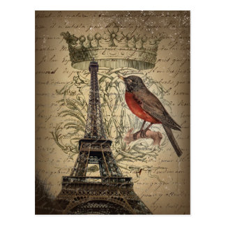 jubilee crown french bird paris eiffel tower postcard