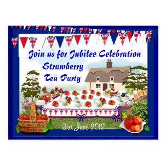 Jubilee Strawberry Tea Party  ~ Postcard