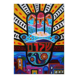 "JUDAIC HAMSA BAT BAR MITZVAH INVITATION 5"" X 7"" INVITATION CARD"