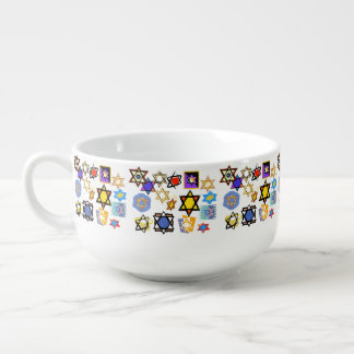 Judaic Soup Bowls - Jewish Stars Art & Gifts Soup Bowl With Handle