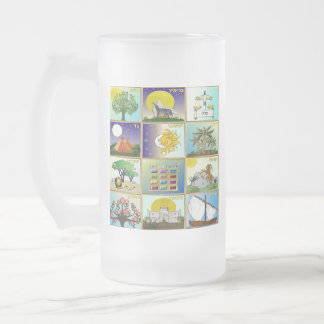 Judaica 12 Tribes Of Israel Art Print Frosted Glass Beer Mug