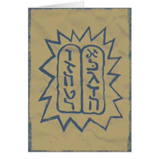 Judaica: Distressed Tem Commandments in Blue Card