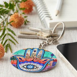 Judaica Hamsa Evil Eye Keychain